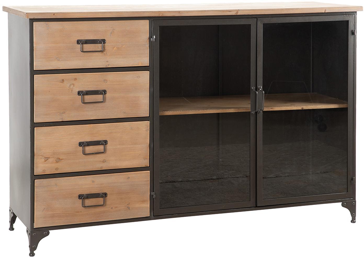 Aparador de madera de abeto Elsa, Estructura: metal, Marrón, negro, An 143 x Al 91 cm