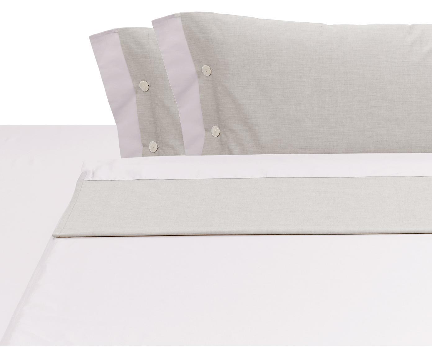 Set lenzuola in raso di cotone Charme, 4 pz, Raso di cotone, Beige, 250 x 290 cm