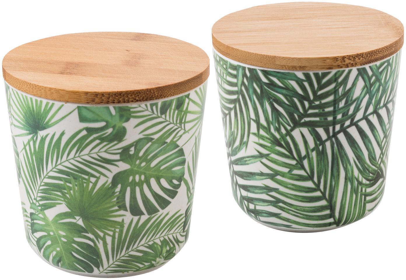 Opbergpottenset Tropical, 2-delig, Deksel: bamboehout, kunststof, Groentinten, wit, Ø 11 x H 11 cm