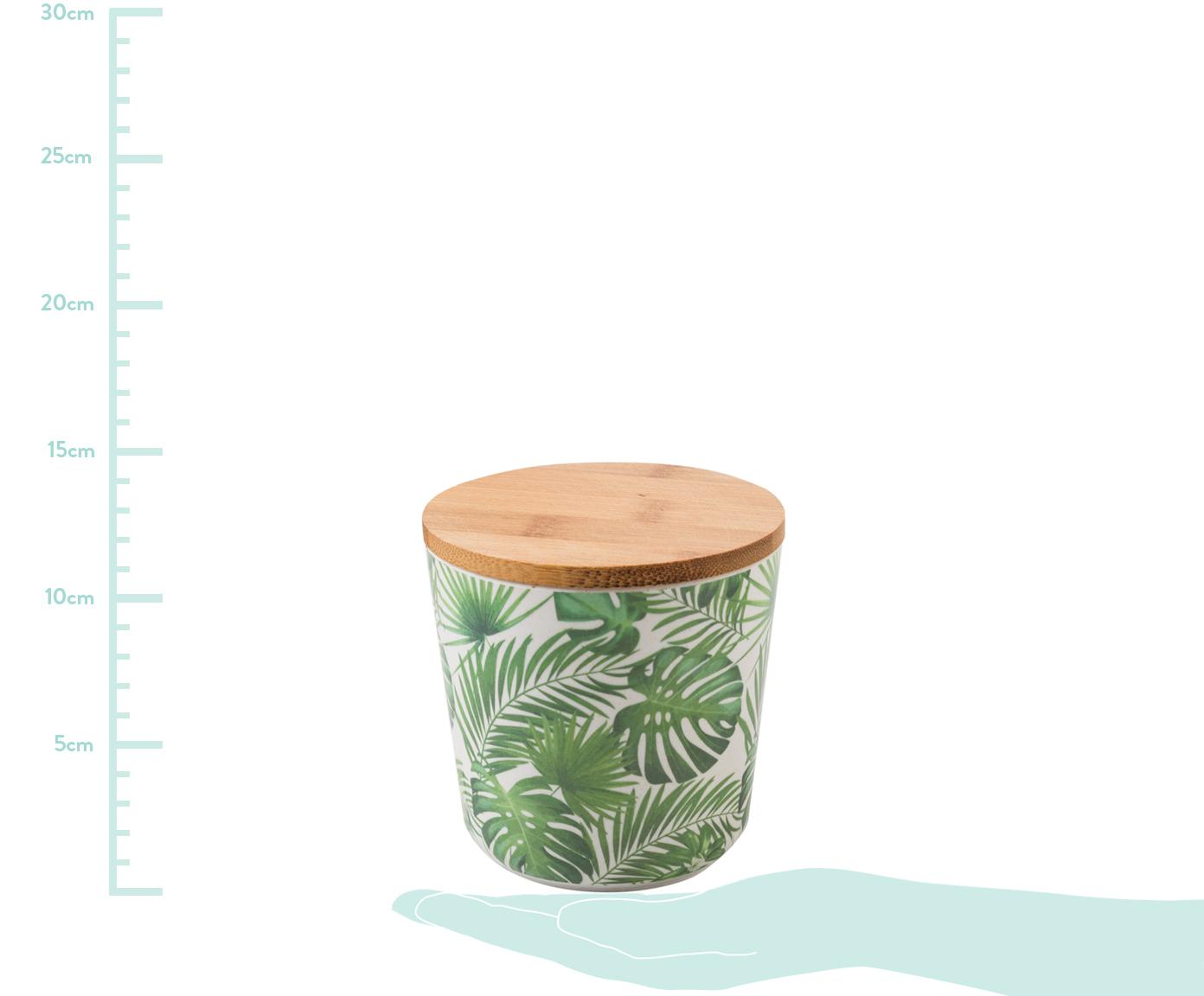 Aufbewahrungsdosen-Set Tropical, 2-tlg., Deckel: Bambusholz, Kunststoff, Grüntöne, Weiß, Ø 11 x H 11 cm