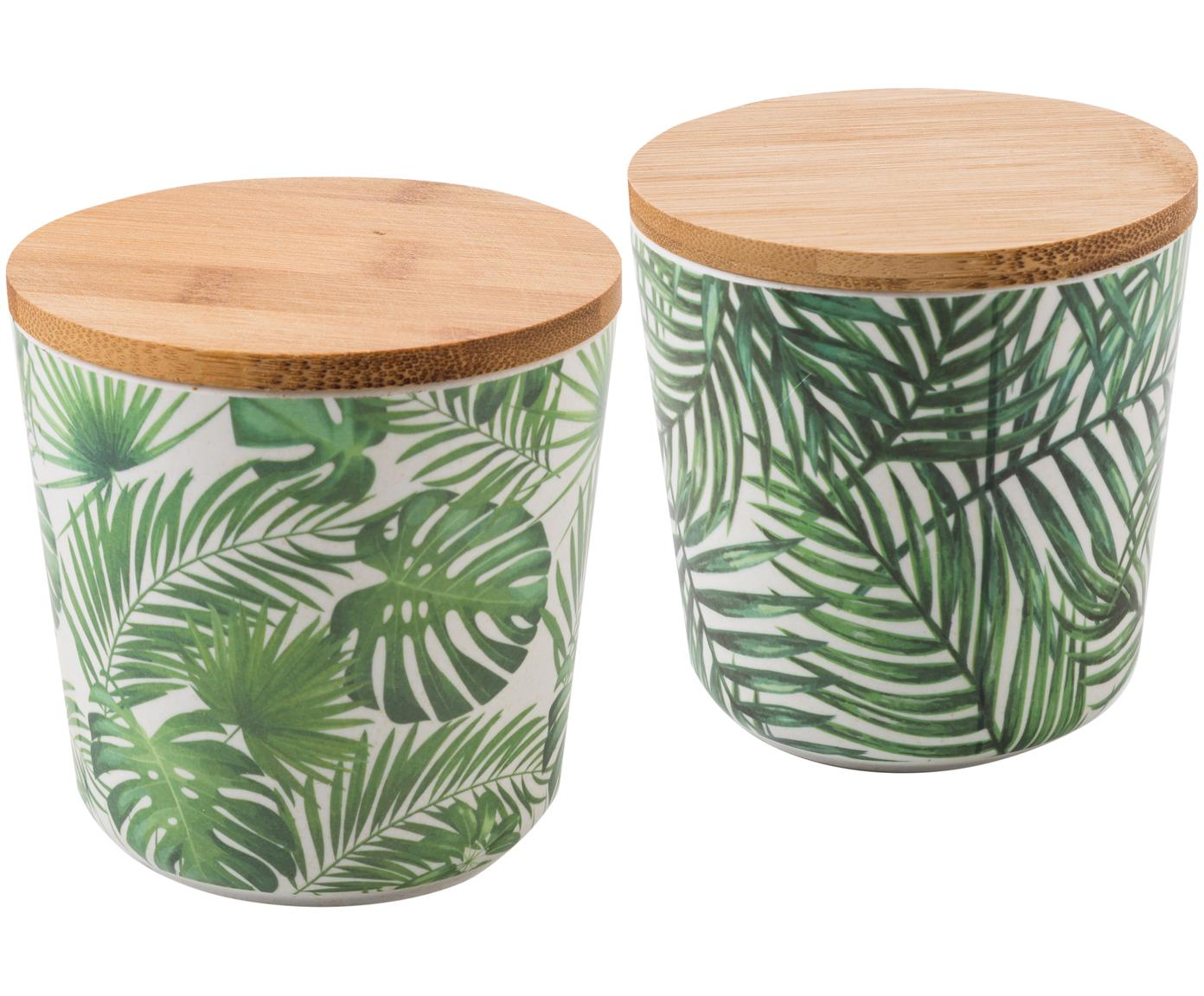 Komplet pojemników do przechowywania Tropical, 2 elem., Odcienie zielonego, biały, Ø 11 x W 11 cm