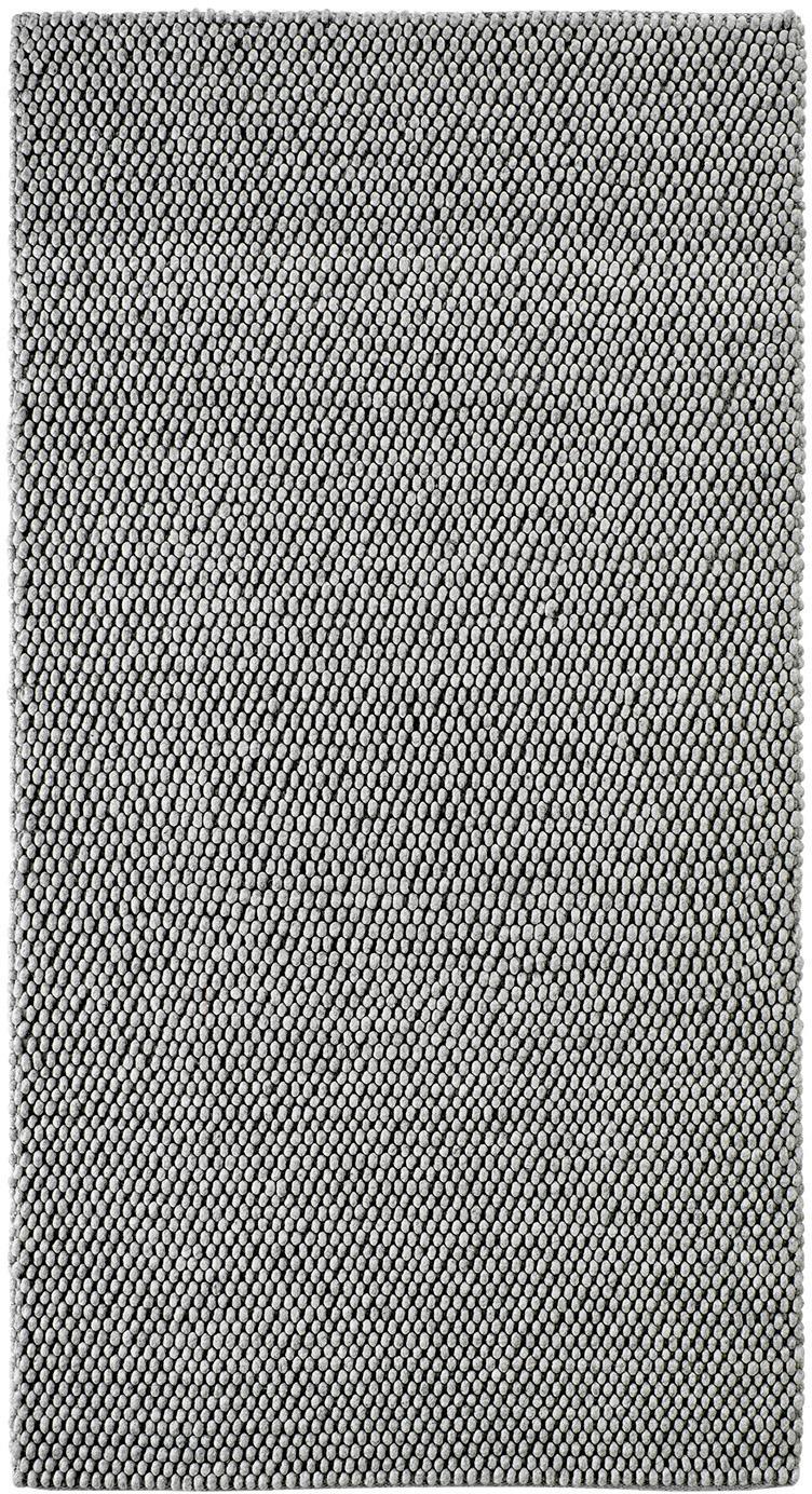 Handgestikte vloerkleed My Loft in lichtgrijs gevlekt, Bovenzijde: 60% wol, 40% viscose, Onderzijde: katoen, Zilvergrijs, B 80 x L 150 cm (maat XS)