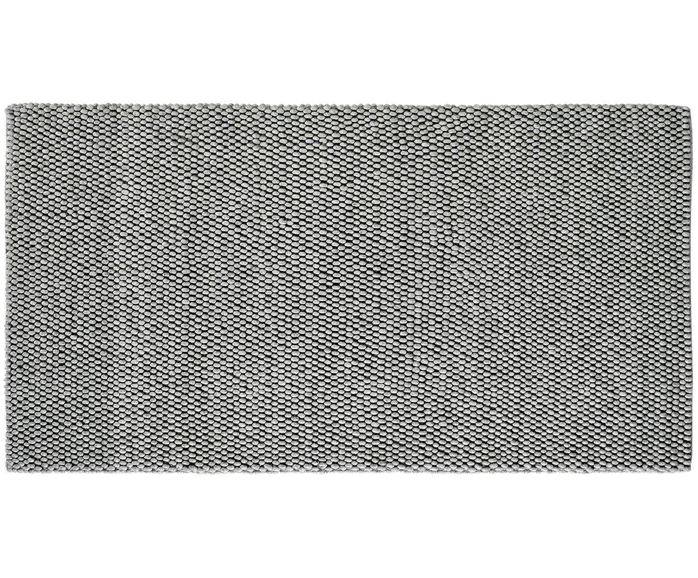 Alfombra artesanal de lana My Loft, Parte superior: 60%lana, 40%viscosa, Reverso: algodón, Gris plata, An 80 x L 150 cm (Tamaño XS)