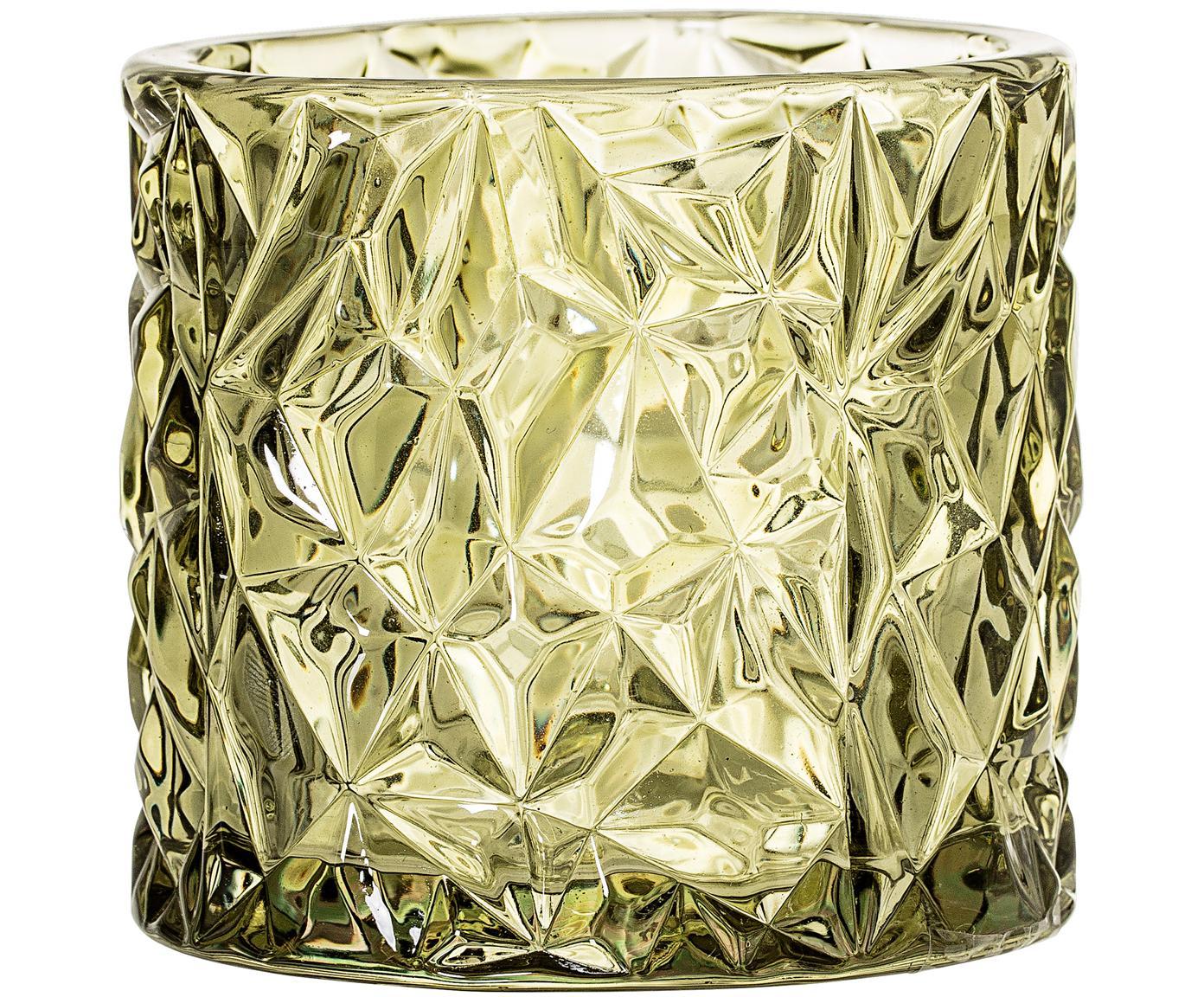 Teelichthalter Olivia, Glas, Grün, leicht transparent, Ø 9 x H 8 cm