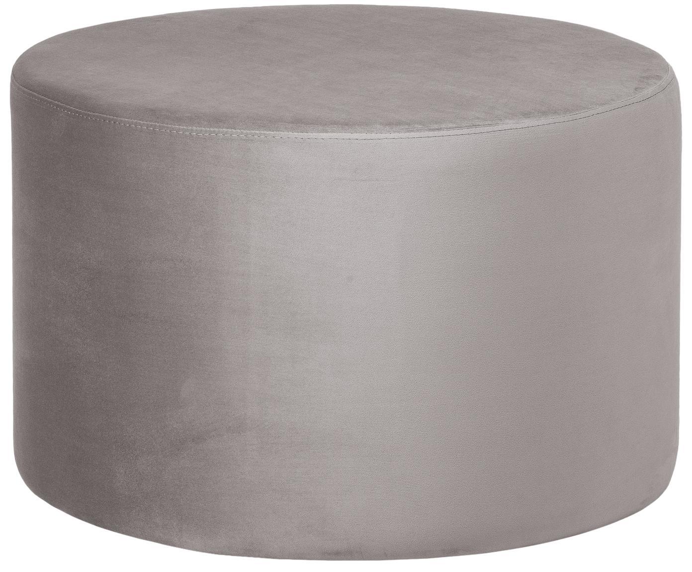 Samt-Hocker Daisy, Bezug: Samt (Polyester) 15.000 S, Rahmen: Mitteldichte Holzfaserpla, Beigegrau, Ø 60 x H 41 cm