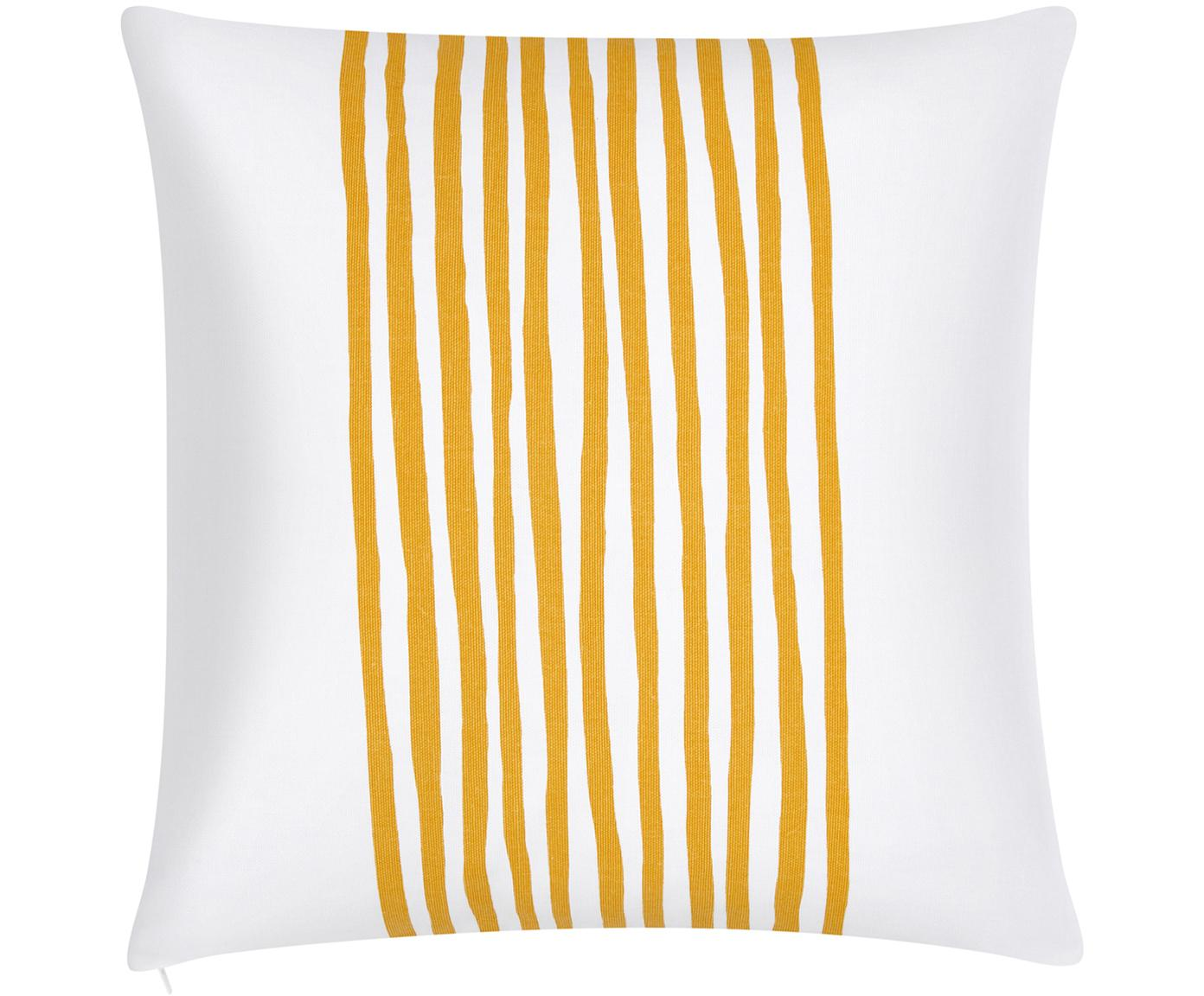 Kissenhülle Corey mit Streifen in Gelb/Weiss, 100% Baumwolle, Gelb-Orange, Weiss, 40 x 40 cm