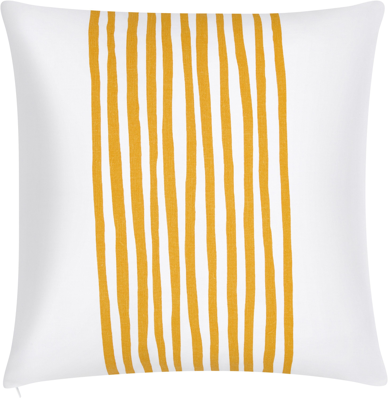 Kussenhoes Corey met strepen in geel/wit, Katoen, Geel, wit, 40 x 40 cm