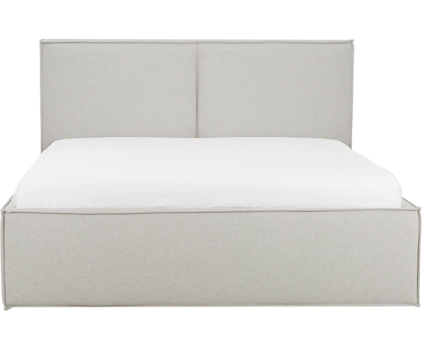 Polsterbett Dream mit Stauraum, Korpus: Massives Kiefernholz, Bezug: Polyester (Strukturstoff), Webstoff Hellgrau, 180 x 200 cm