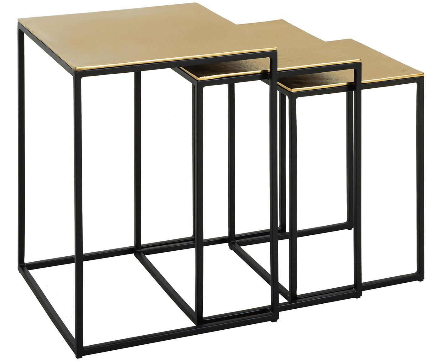 Set 3 tavolini in metallo Dwayne, Ripiani: alluminio rivestito, Struttura: metallo verniciato, Dorato con  finitura antica, Diverse dimensioni