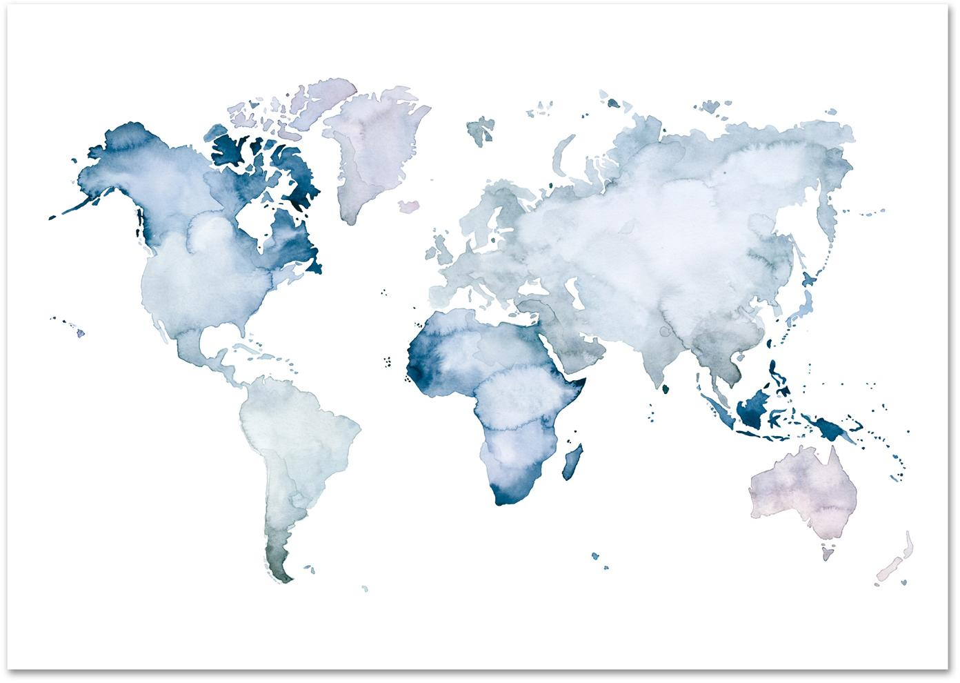 Poster World Map, Digitale print op papier, 200 g/m², Blauw, wit, 30 x 21 cm