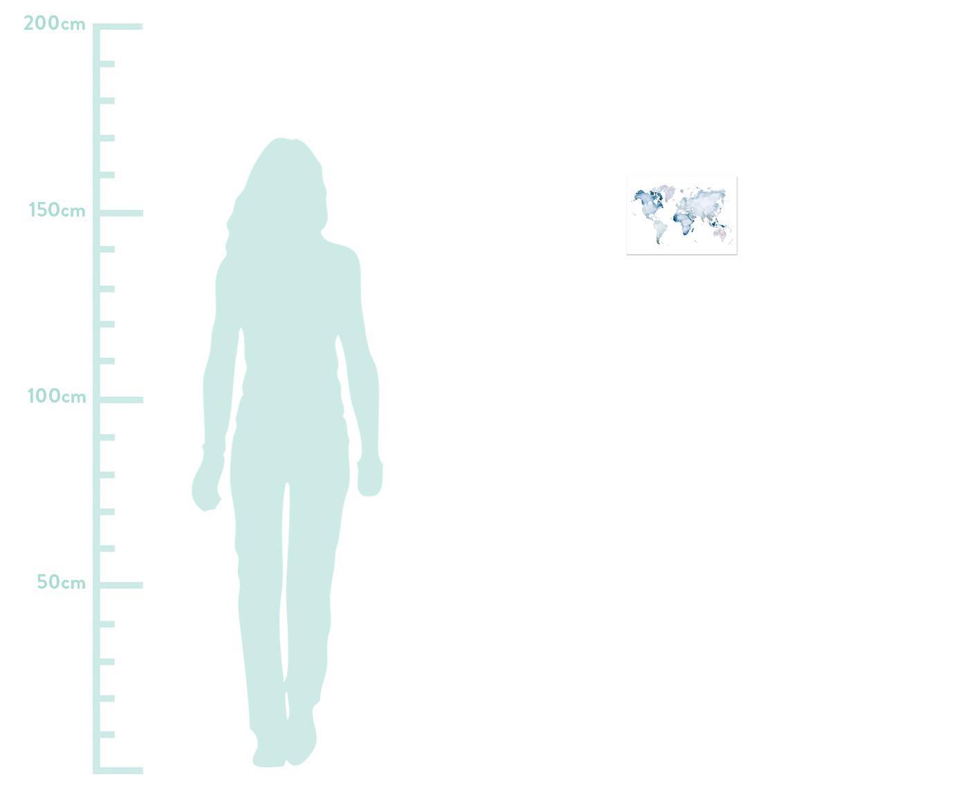 Poster World Map, Digitaldruck auf Papier, 200 g/m², Blau, Weiß, 30 x 21 cm
