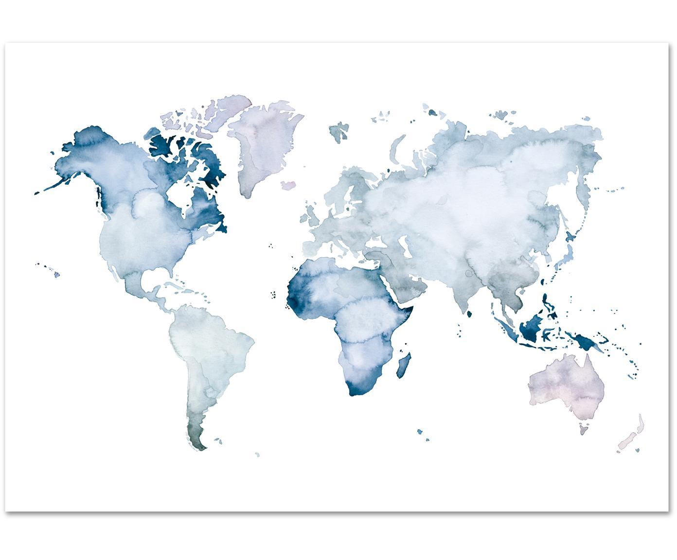Plakat World Map, Druk cyfrowy na papierze, 200 g/m², Niebieski, biały, S 30 x W 21 cm