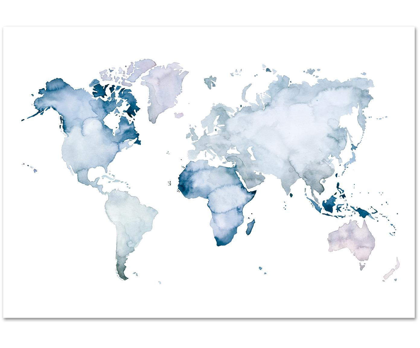 Poster World Map, Stampa digitale su carta, 200 g/m², Blu, bianco, Larg. 30 x Alt. 21 cm