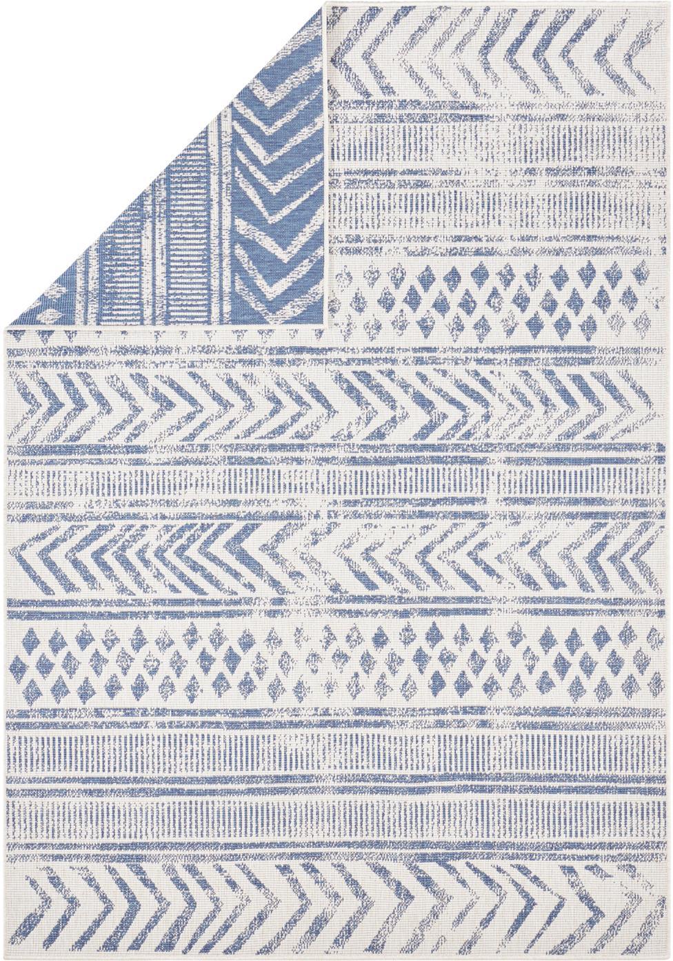 Gemusterter In- & Outdoor-Wendeteppich Biri in Blau/Creme, 100% Polypropylen, Blau, Creme, B 120 x L 170 cm (Größe S)