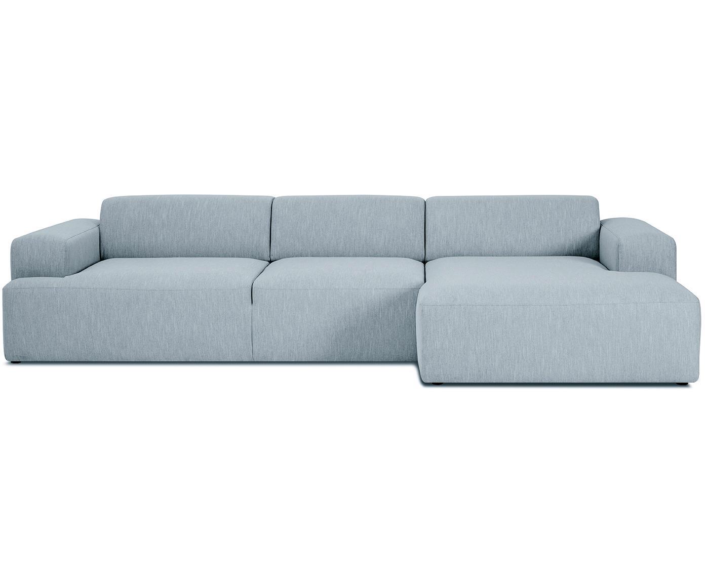 Ecksofa Melva (4-Sitzer), Bezug: Polyester 35.000 Scheuert, Gestell: Massives Kiefernholz, Spa, Webstoff Blaugrau, B 319 x T 144 cm