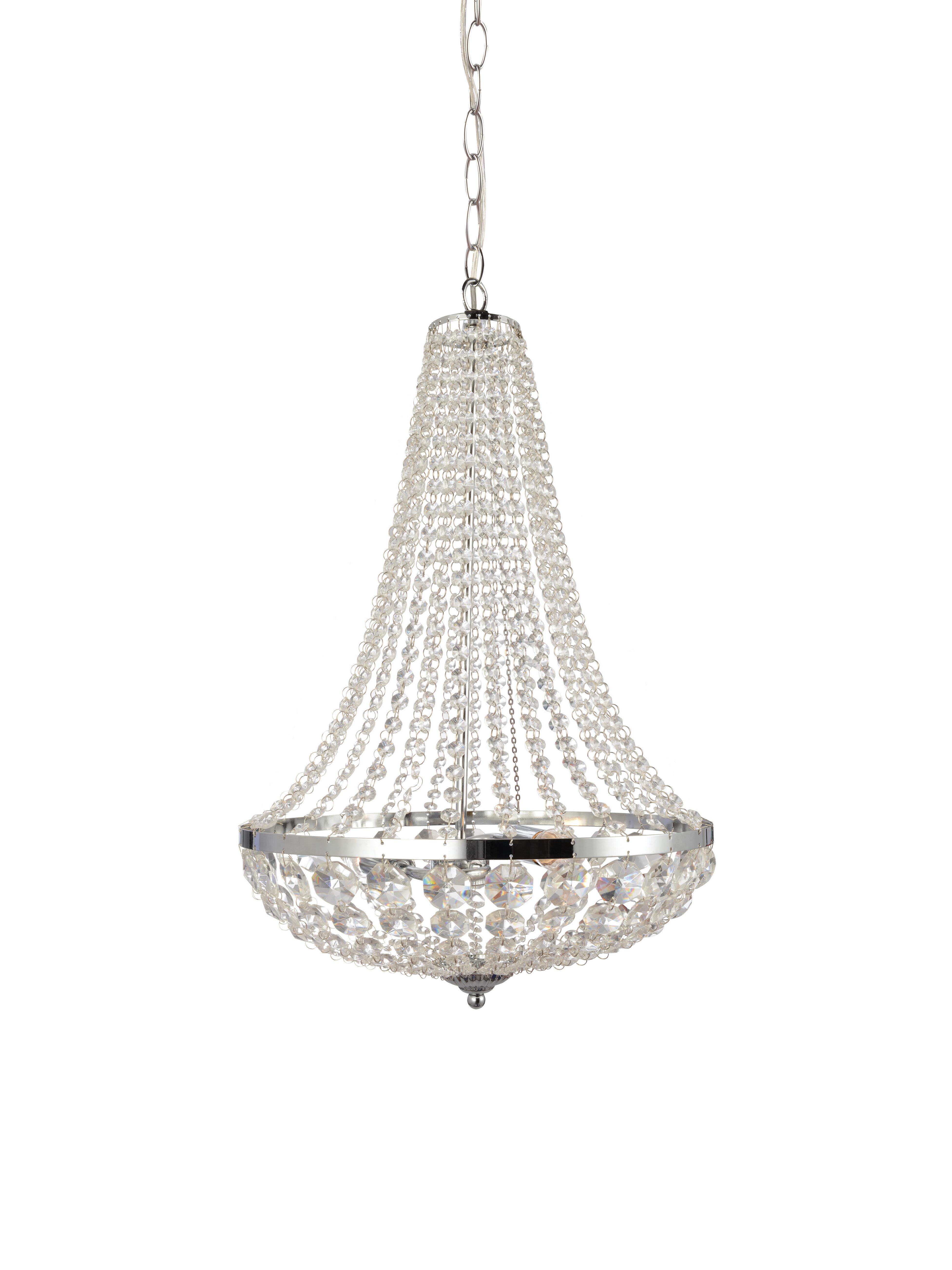 Lámpara de araña Gränsö, Adornos: plástico, Cromo, transparente, Ø 40 x Al 59 cm