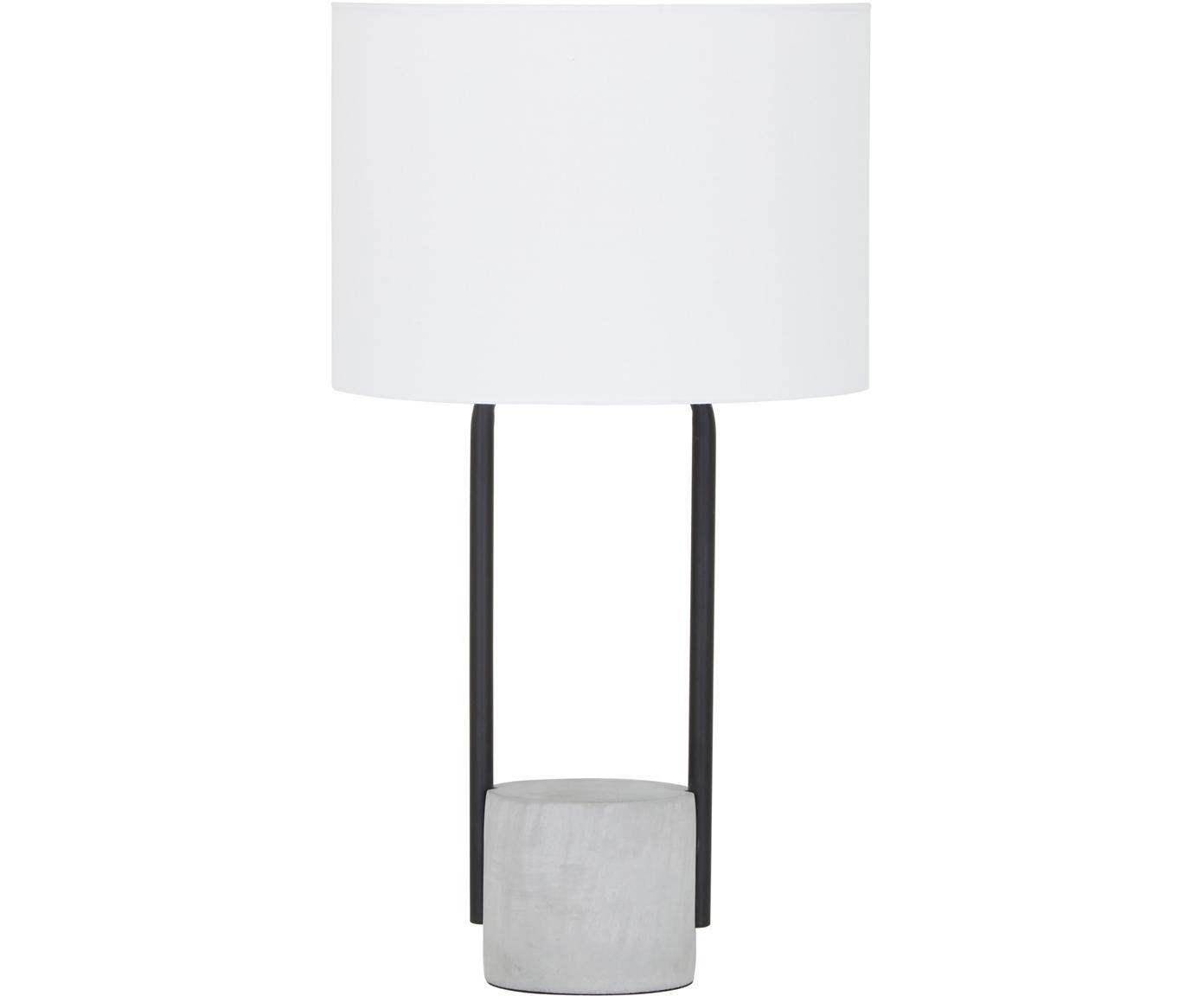 Tafellamp Pipero met betonnen voet, Lampenkap: textiel, Lampvoet: gepoedercoat metaal, beto, Lampenkap: wit. Lampvoet: mat zwart, grijs. Snoer: zwart, Ø 28 x H 51 cm