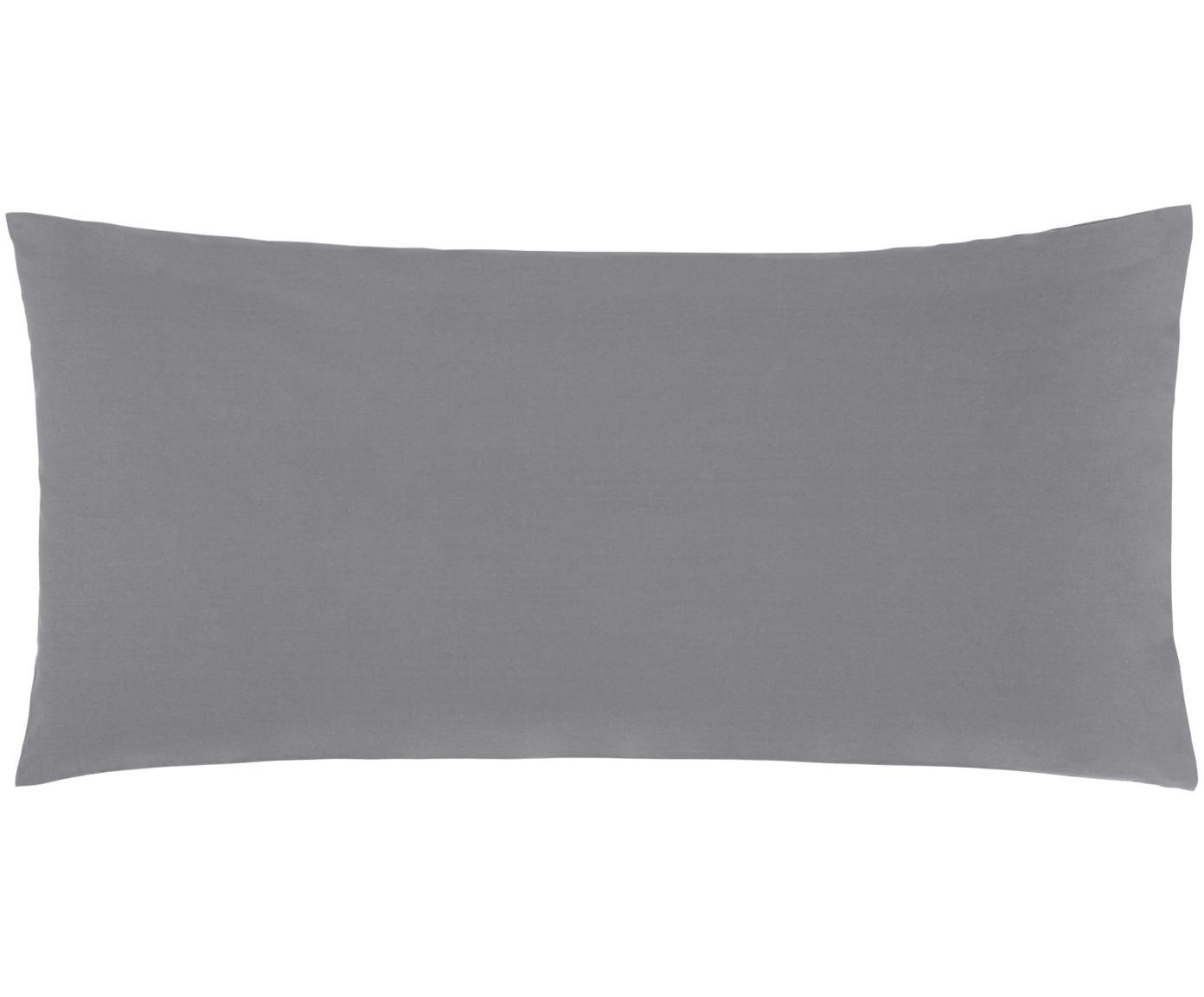 Poszewka na poduszkę z perkalu Elsie, 2 szt., Ciemny szary, S 40 x D 80 cm
