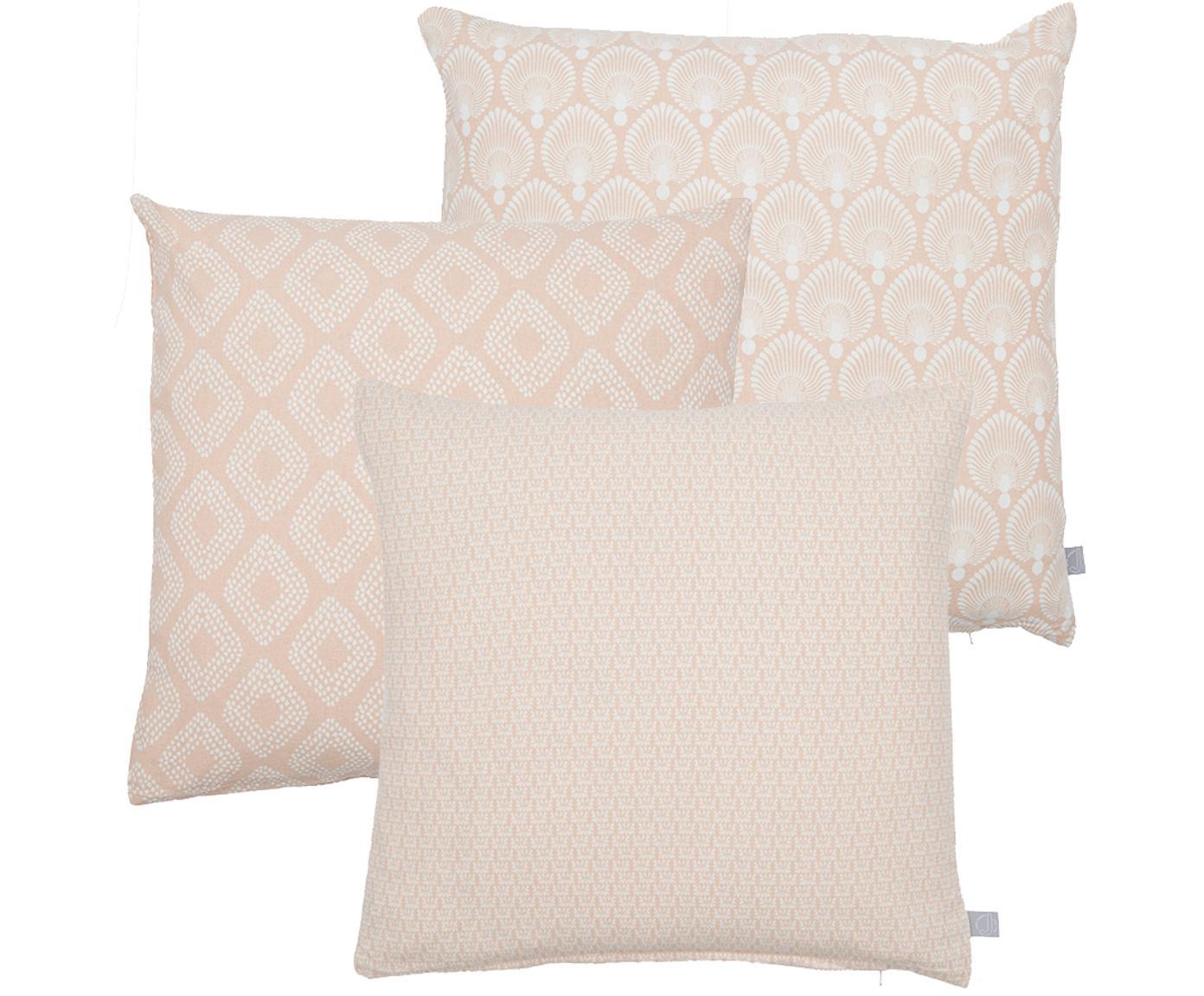 Set 3 federe con motivi geometrici Cousin, Cotone, Rosa, bianco, Larg. 45 x Lung. 45 cm