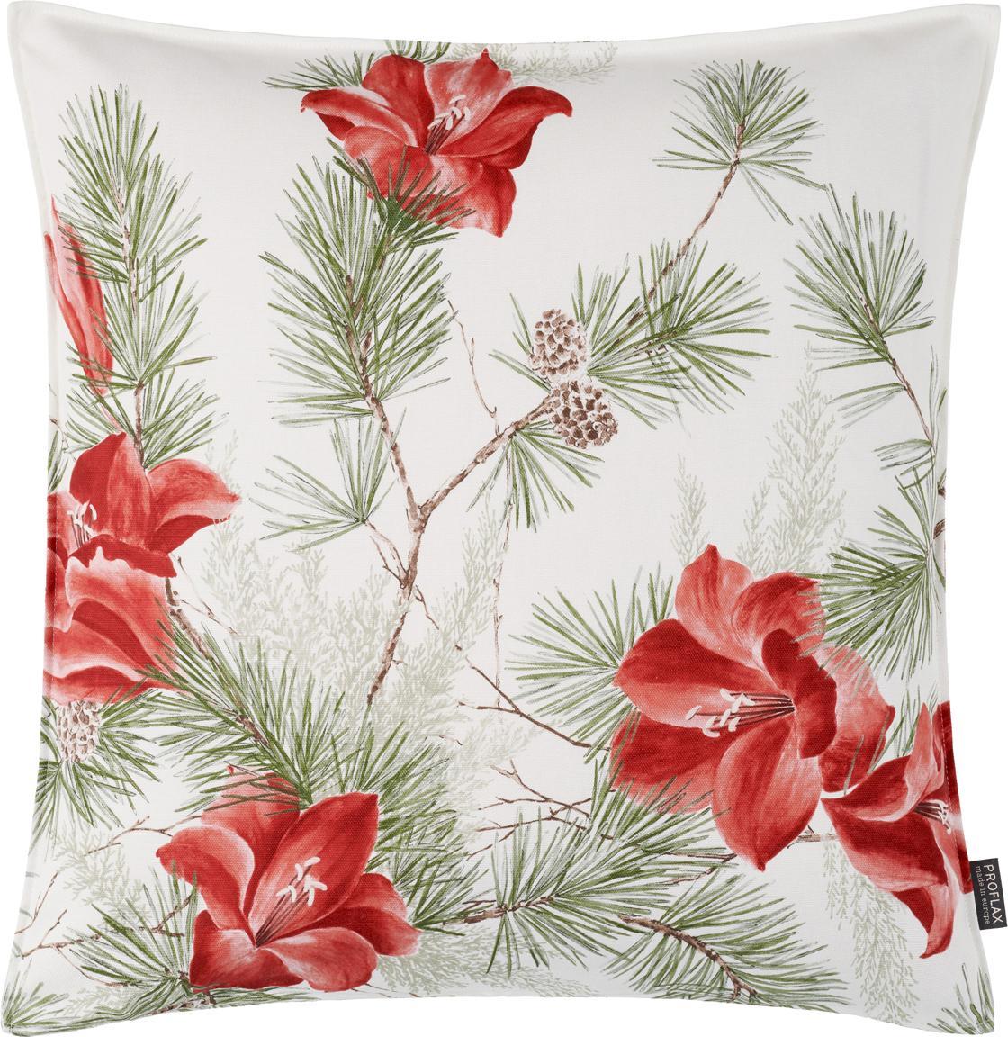 Kussenhoes Amara met bloemen patroon, Katoen, Wit, rood, groen, 50 x 50 cm
