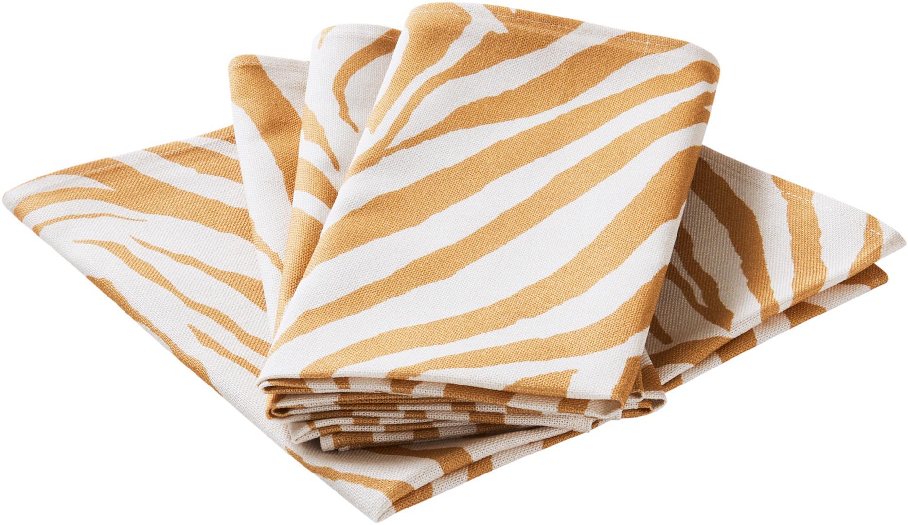 Katoenen servetten Zadie, 4 stuks, 100% katoen, afkomstig van duurzame katoenteelt, Mosterdgeel, crèmewit, 45 x 45 cm