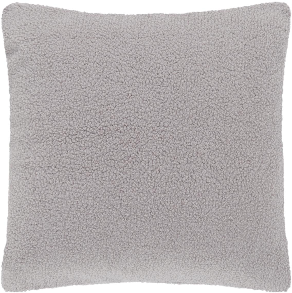 Flauschige Teddy-Kissenhülle Mille, Vorderseite: 100% Polyester (Teddyfell, Rückseite: 100% Polyester (Teddyfell, Hellgrau, 45 x 45 cm
