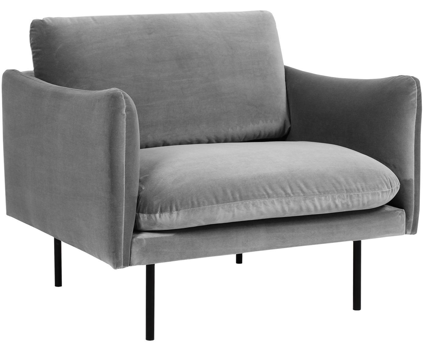Samt-Sessel Moby, Bezug: Samt (Hochwertiger Polyes, Gestell: Massives Kiefernholz, Füße: Metall, pulverbeschichtet, Samt Grau, B 90 x T 90 cm