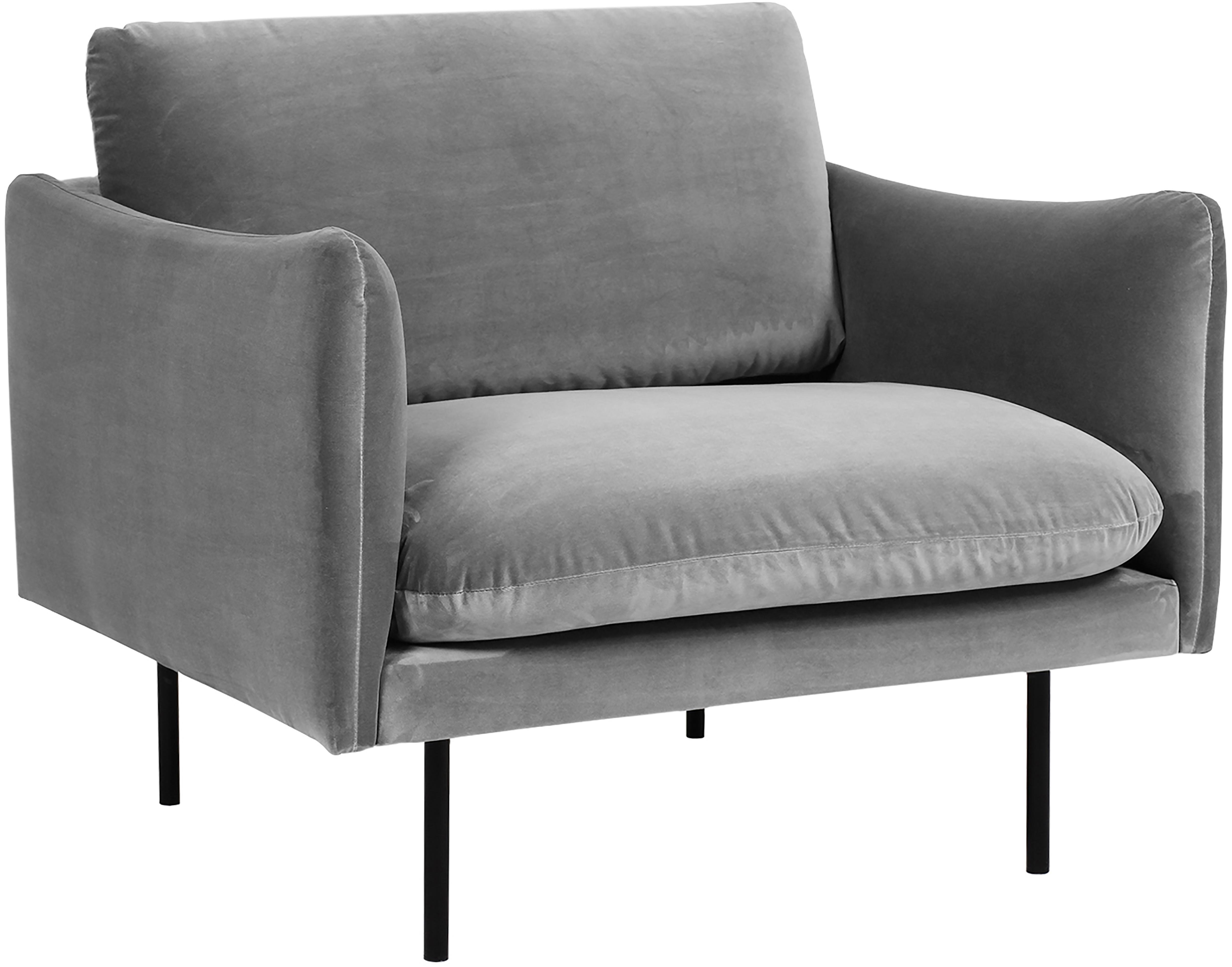 Fotel z aksamitu Moby, Tapicerka: aksamit (wysokiej jakości, Stelaż: lite drewno sosnowe, Nogi: metal malowany proszkowo, Szary, S 90 x G 90 cm