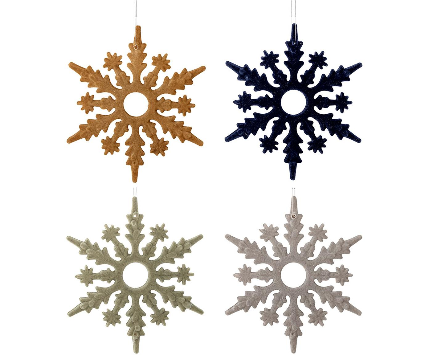 Kerstboomhangersset Snowflakes, 4-delig, Polypropyleen, polyester, Mosterdgeel, donkerblauw, mintgroen, grijs, Ø 15 cm