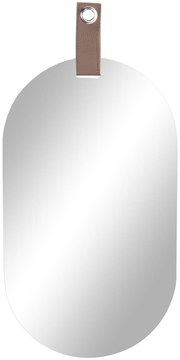 Ovaler Wandspiegel Perky mit braunem Aufhängeband, Spiegelfläche: Spiegelglas, Spiegelglas, 22 x 39 cm