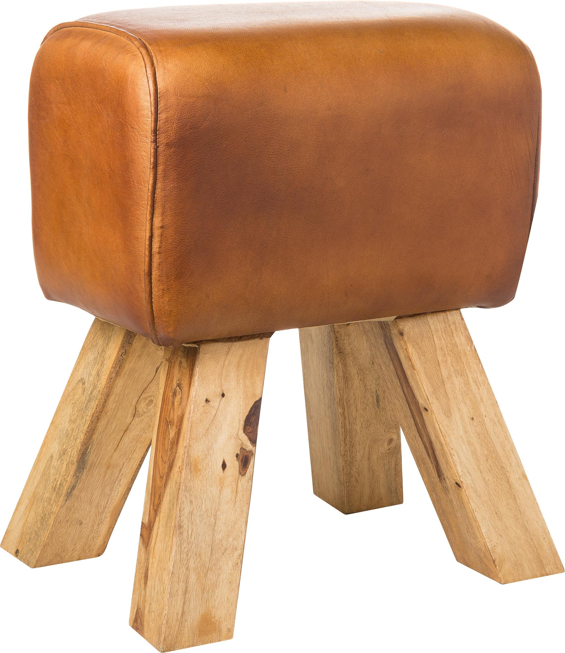 Vintage leren kruk Tim, Poten: gebeitst massief mangohou, Bekleding: vintage geitenvacht met g, Lichtbruin, 40 x 47 cm