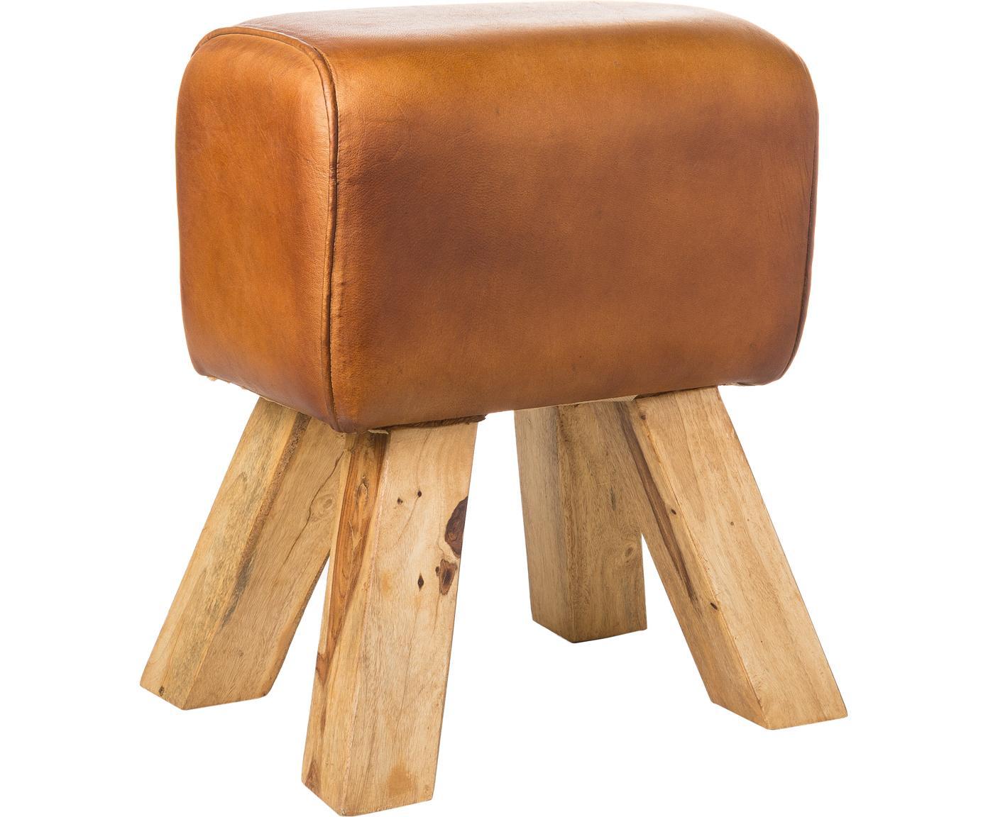 Sgabello in pelle vintage Tim, Gambe: legno di mango massiccio,, Rivestimento: pelle di capra vintage us, Marrone chiaro, Larg. 40 x Alt. 47 cm