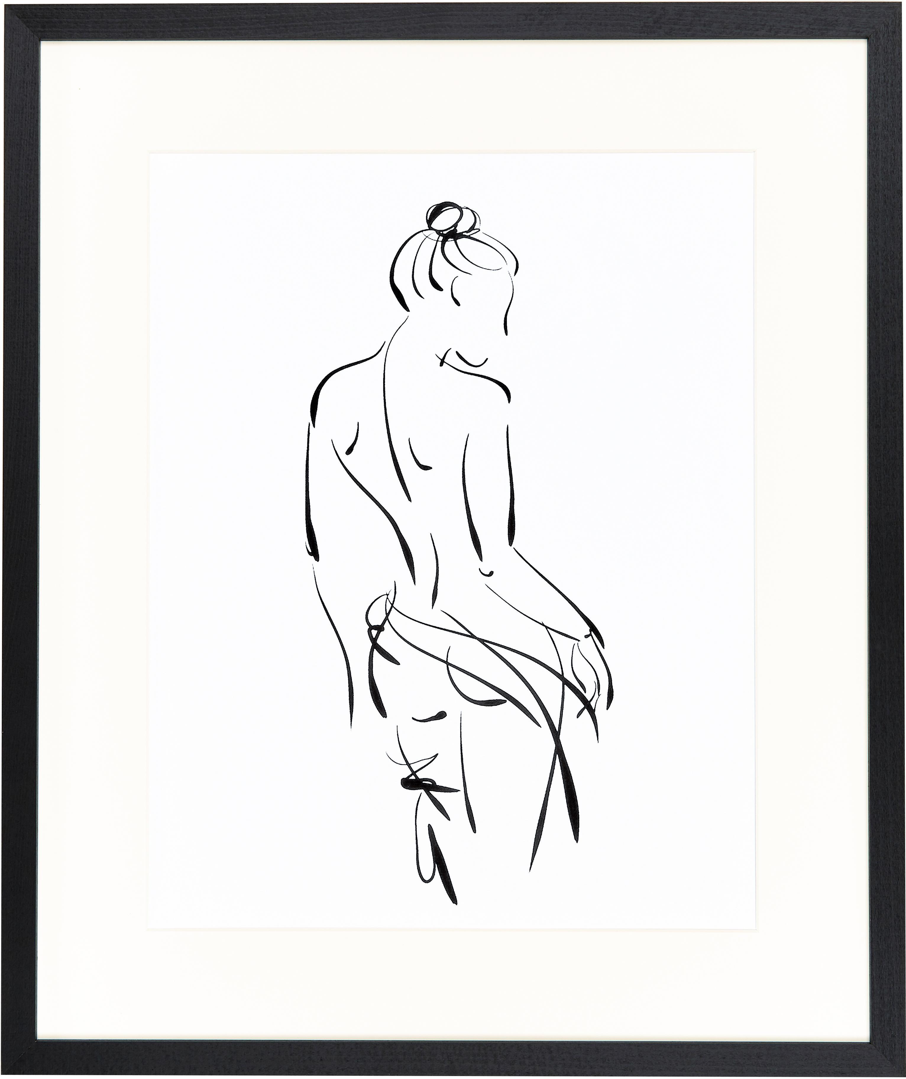 Oprawiony druk cyfrowy Naked Woman, Czarny, biały, S 53 x W 63 cm