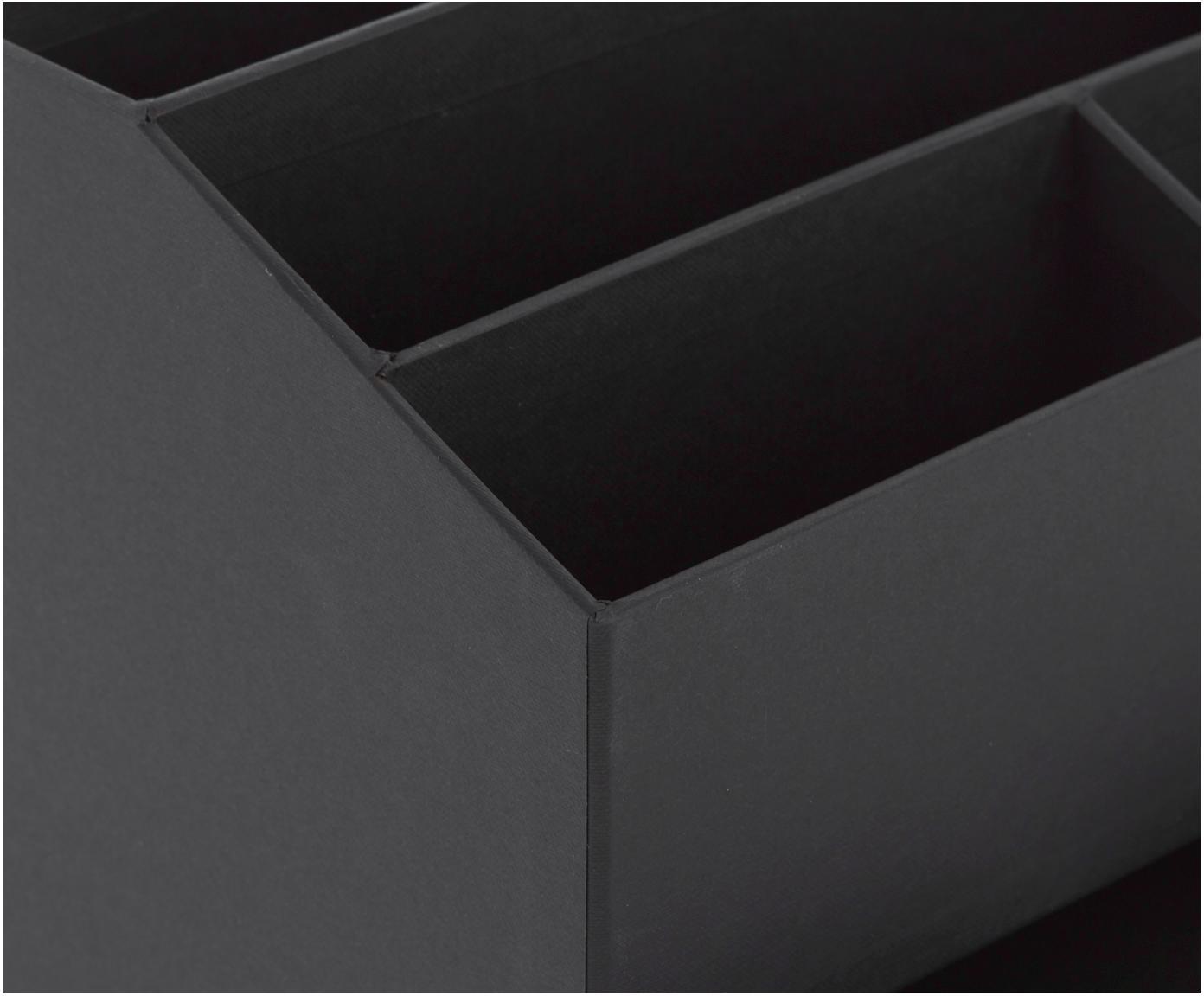 Bureau organizer Greta, Massief, gelamineerd karton, Zwart, 24 x 18 cm