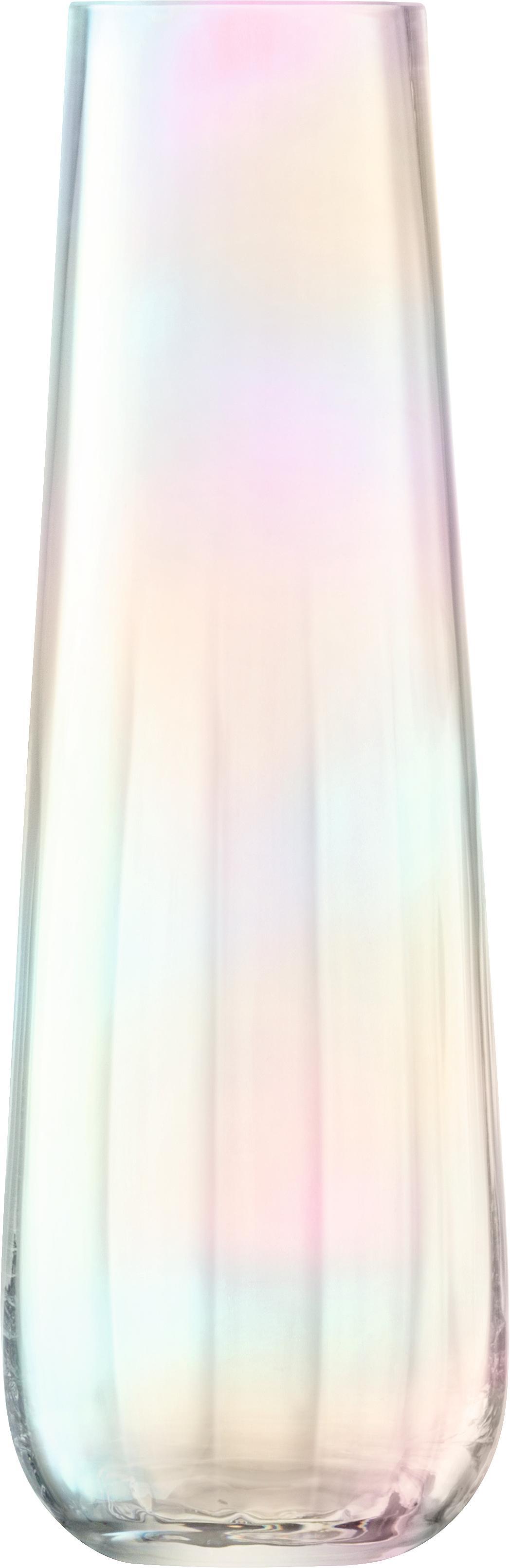 Vaso in vetro soffiato Pearl, Vetro, Riflessi madreperlacei, Ø 13 x Alt. 36 cm