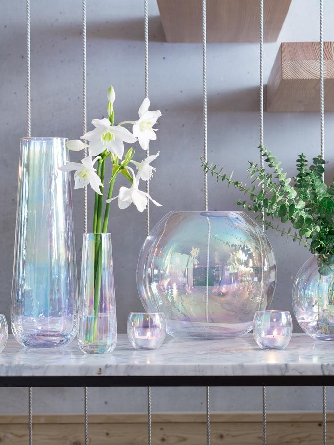 Große mundgeblasene Vase Pearl, Glas, Perlmutt-Schimmer, Ø 13 x H 36 cm