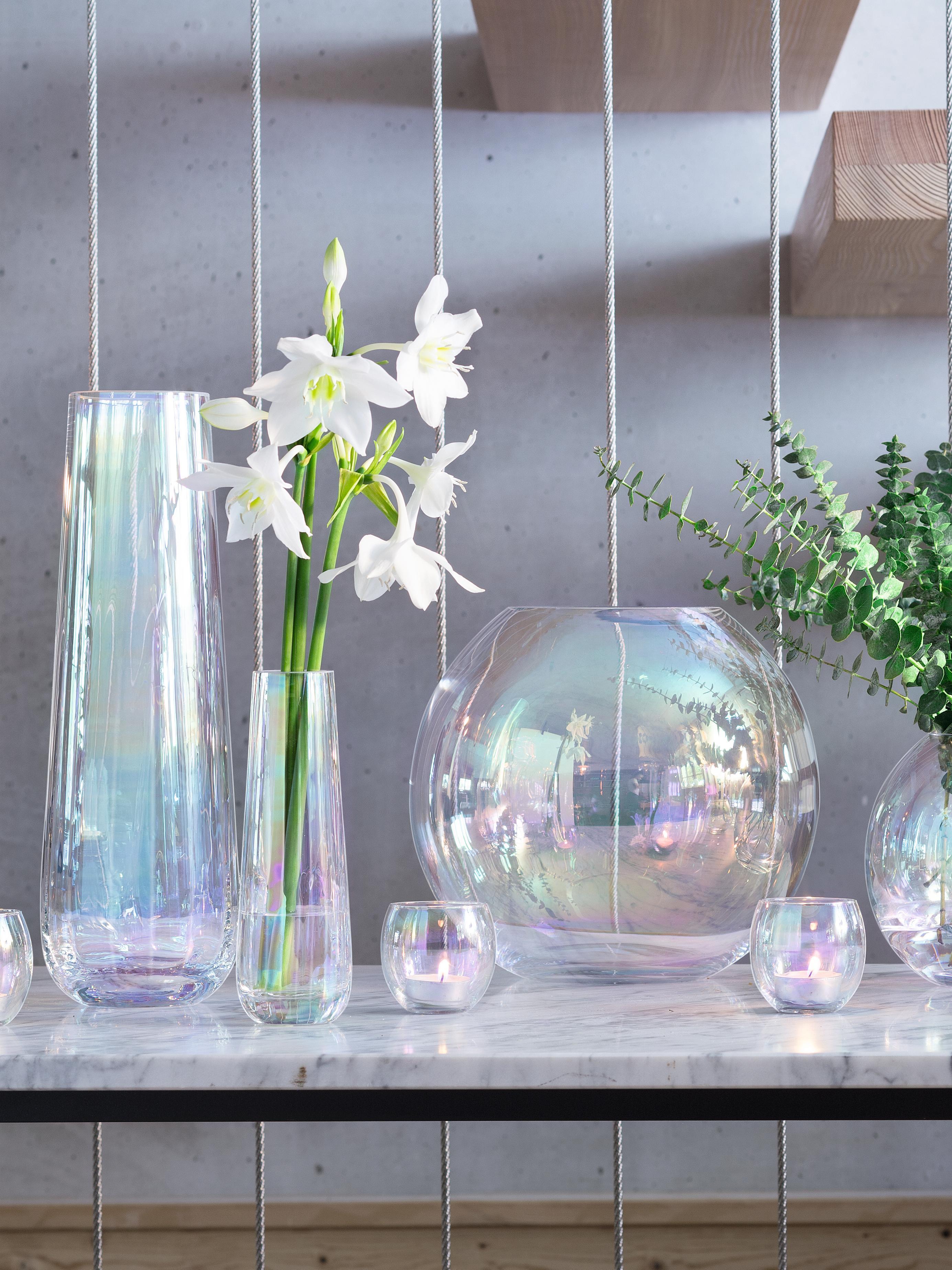 Jarrón de vidrio soplado Pearl, grande, Vidrio, Brillo perla, Ø 13 x Al 36 cm