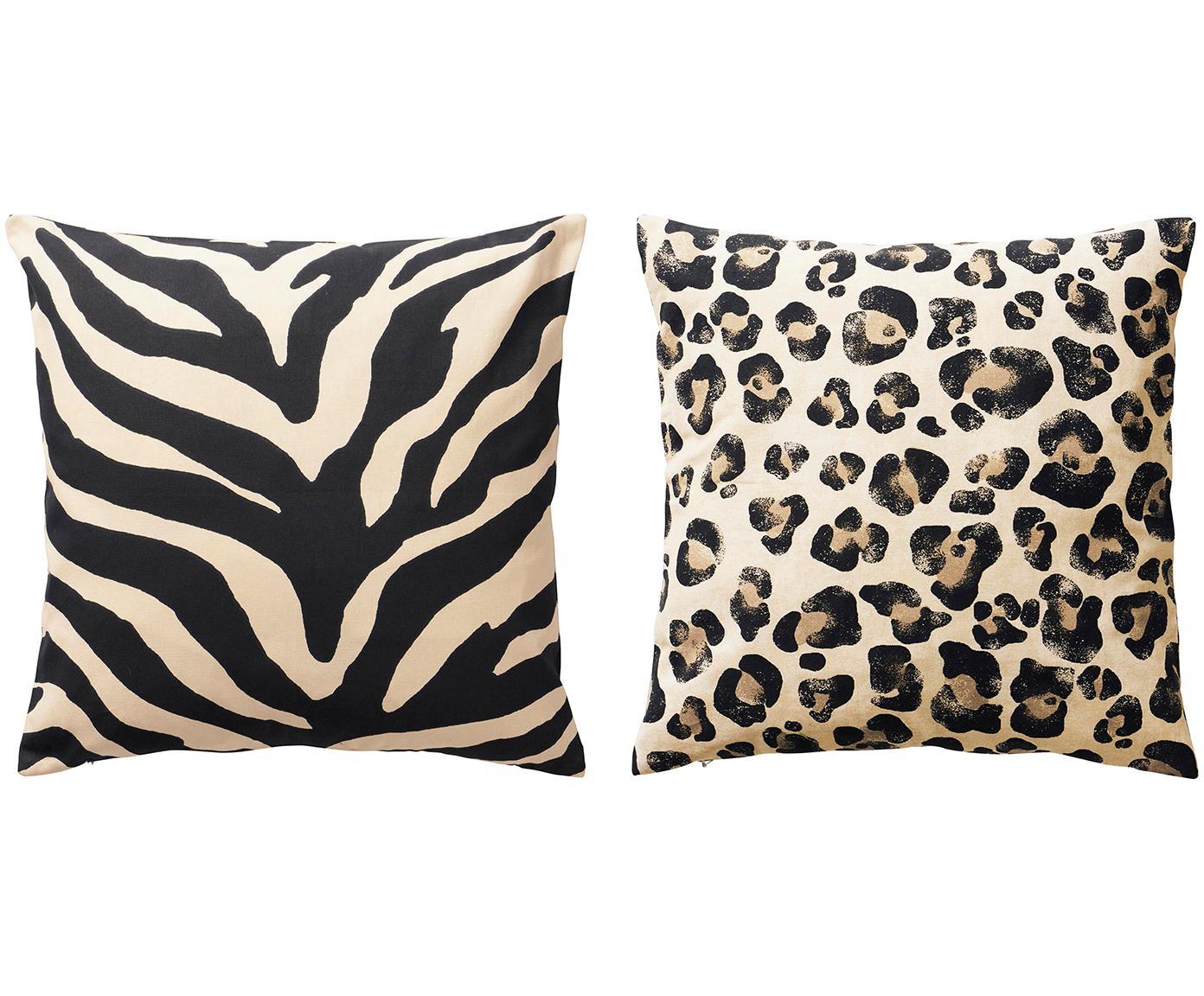 Set de fundas de cojín Animals, 2pzas., Algodón, Negro, beige, An 45 x L 45 cm