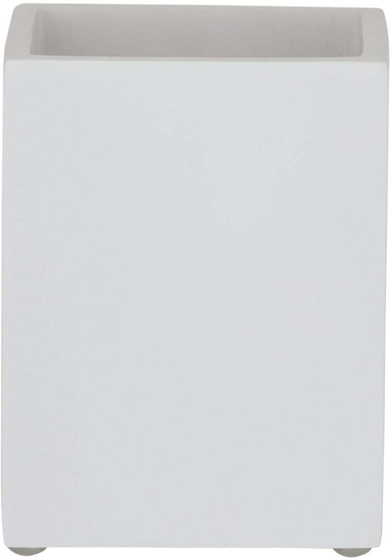 Zahnputzbecher Cura, Polyresin, Weiß, 7 x 9 cm