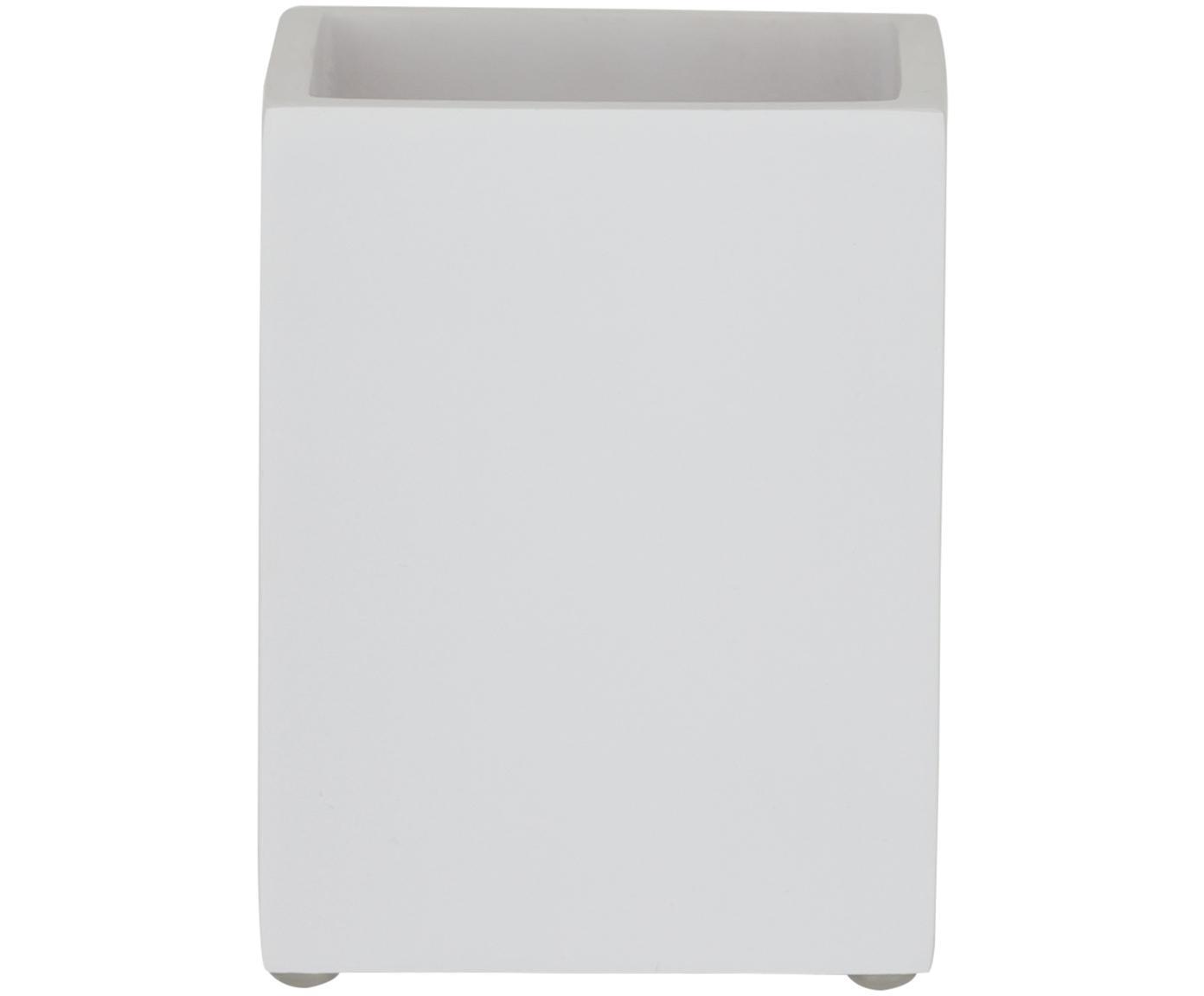 Porta spazzolini Cura, Poliresina, Bianco, Larg. 7 x Alt. 9 cm