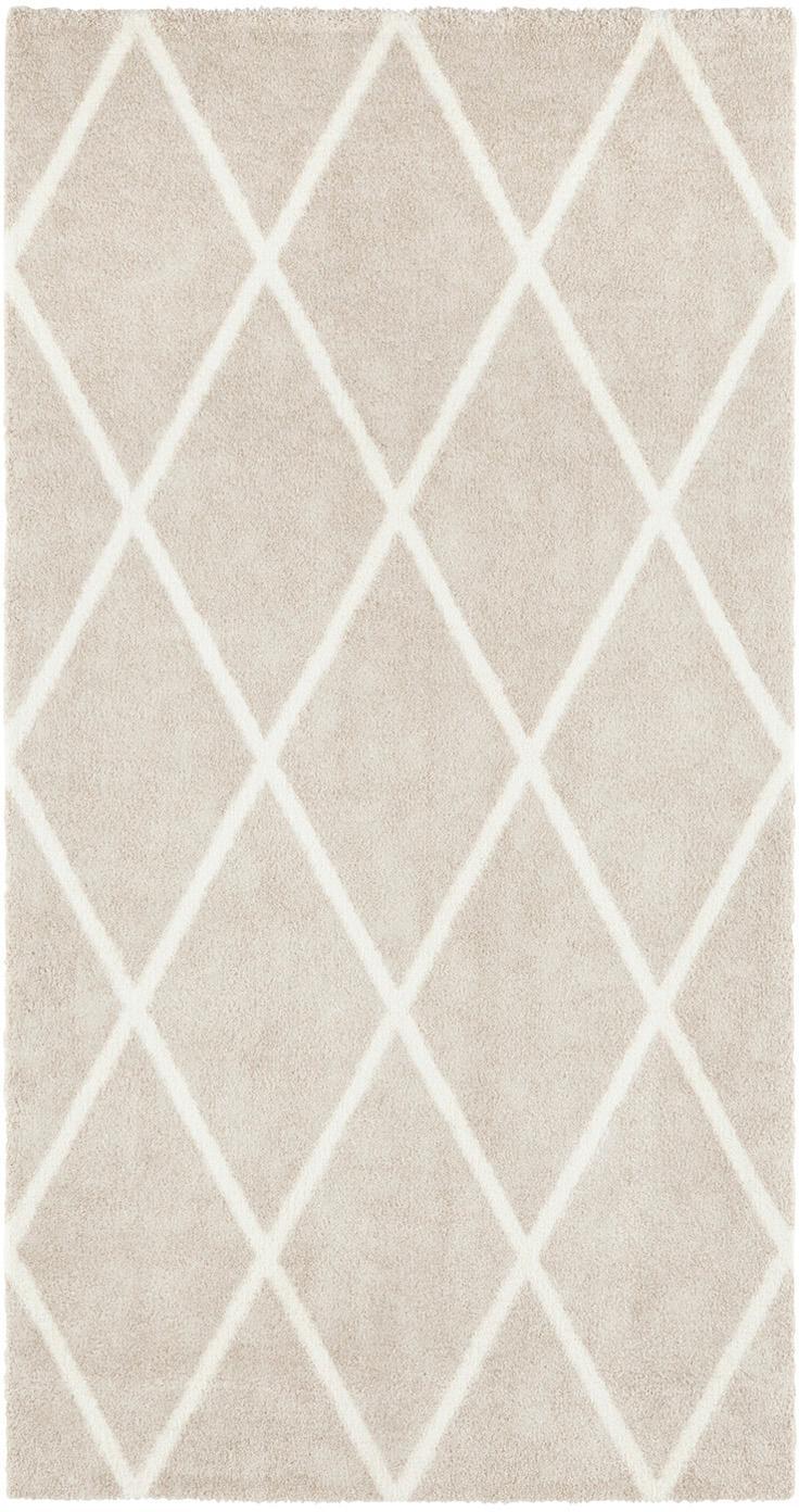 Teppich Lunel mit Rautenmuster, Flor: 85% Polypropylen, 15% Pol, Beige, Cremefarben, B 80 x L 150 cm (Grösse XS)