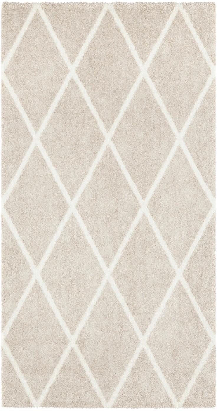 Teppich Lunel mit Rautenmuster, Flor: 85% Polypropylen, 15% Pol, Beige, Cremefarben, B 80 x L 150 cm (Größe XS)