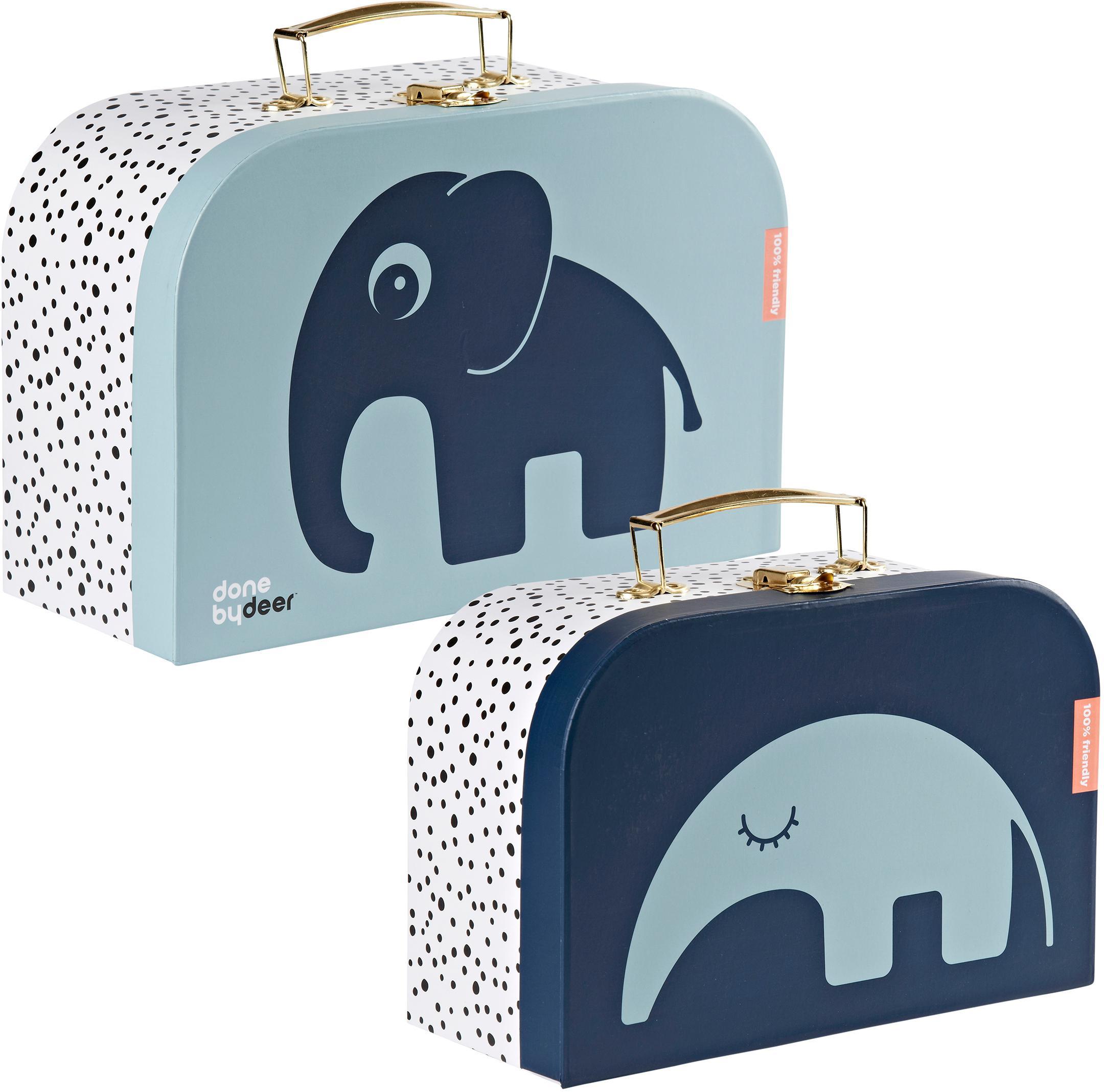 Koffer-Set Deer Friends, 2-tlg., Griff: Metall, beschichtet, Blau, Set mit verschiedenen Größen