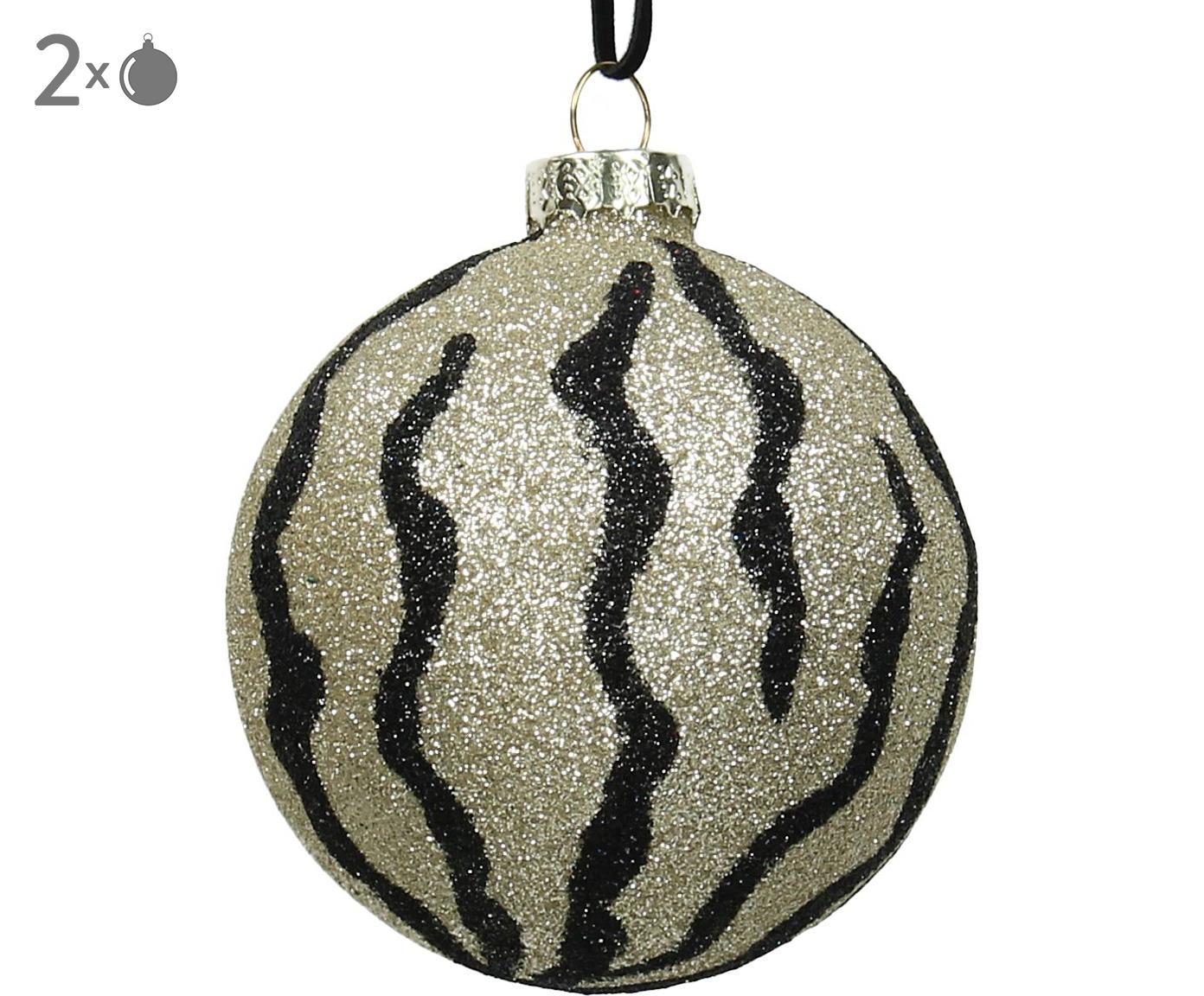 Kerstballen Larisa, 2 stuks, Goudkleurig, zwart, Ø 8 cm