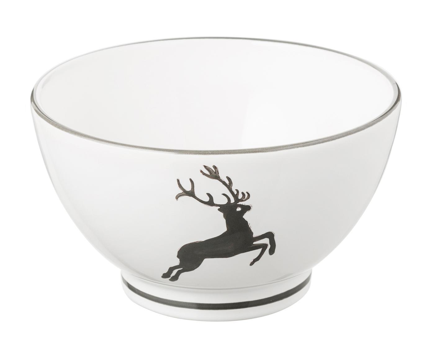 Handbemaltes Schälchen Grauer Hirsch, Keramik, Grau,Weiß, Ø 14 cm