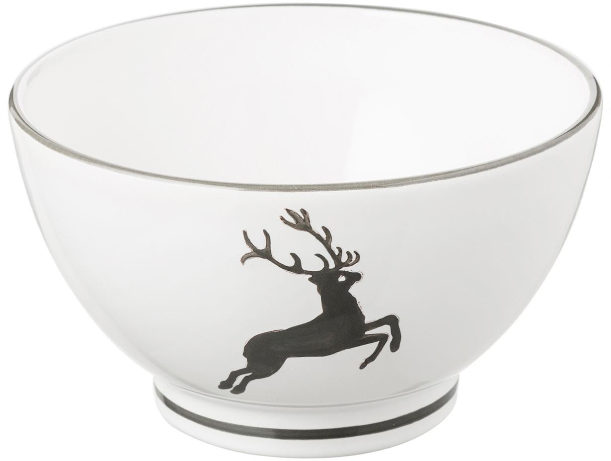 Müslischaal Grey Deer, Keramiek, Grijs, wit, Ø 14 cm