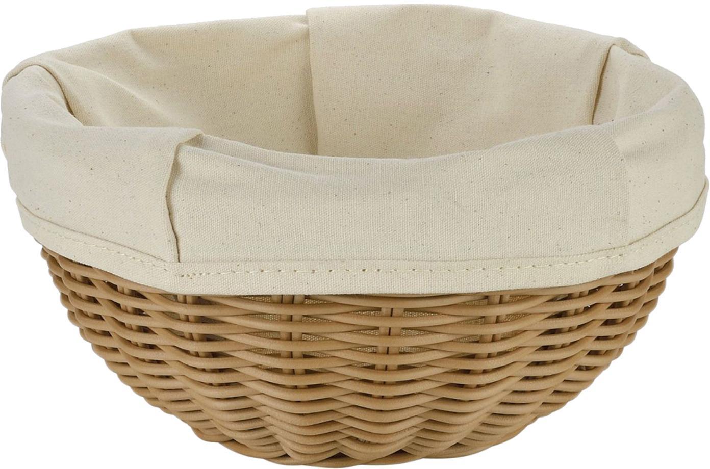 Panera Hally, bolsa extraíble, Cesta: polipropileno (trenza art, Bolsa: algodón, Marrón, beige, Ø 23 x Al 10cm
