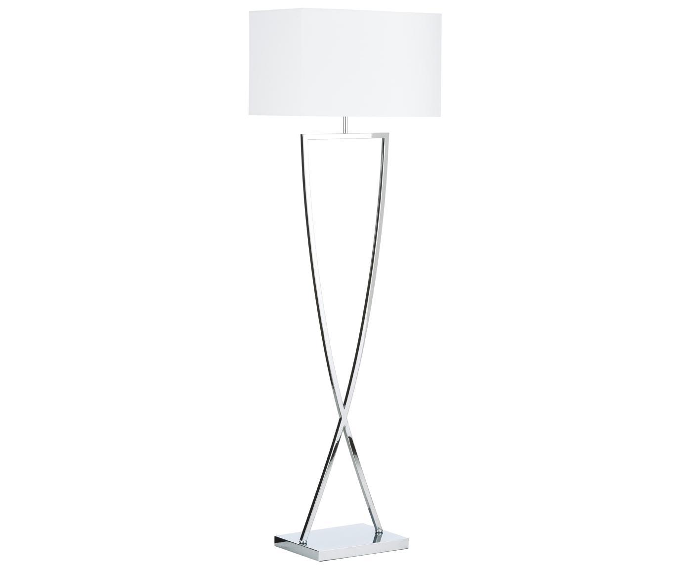 Stehlampe Toulouse in Silber, Lampenfuß: Metall, verchromt, Lampenschirm: Textil, Chrom, Weiß, 50 x 157 cm