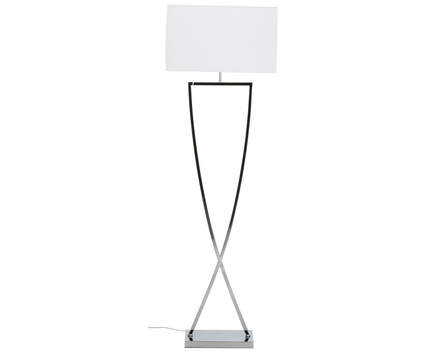 Vloerlamp Toulouse in zilverkleur, Lampvoet: verchroomd metaal, Lampenkap: textiel, Chroomkleurig, wit, 50 x 157 cm