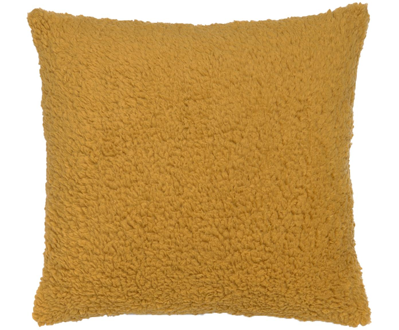 Federa arredo in Teddy in giallo senape Ted, Poliestere, Giallo senape, Larg. 45 x Lung. 45 cm